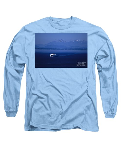 Ferry Boat In Puget Sound With Olympic Mountains Long Sleeve T-Shirt