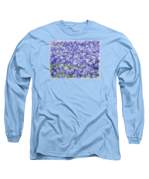Field Of Bluebonnets Long Sleeve T-Shirt by Kathy Churchman