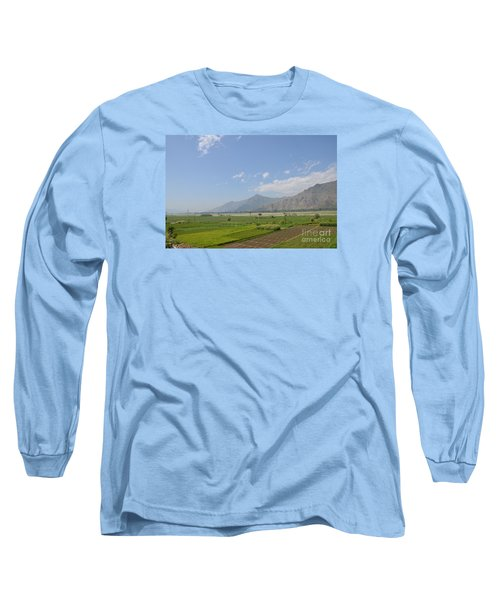 Long Sleeve T-Shirt featuring the photograph Fields Mountains Sky And A River Swat Valley Pakistan by Imran Ahmed