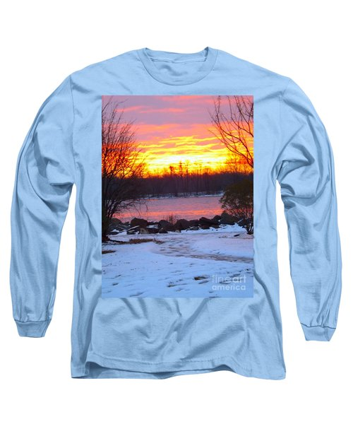 Fire And Ice Sunrise On The Delaware River Long Sleeve T-Shirt