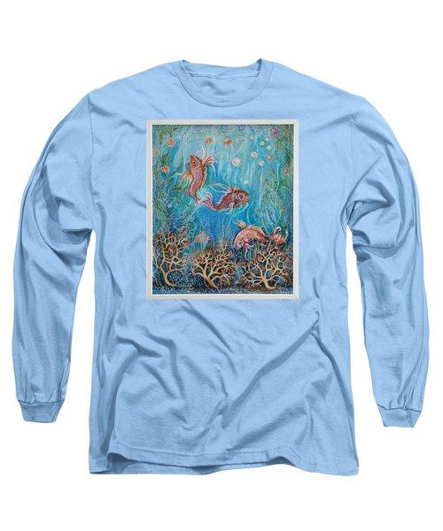 Fish In A Pond Long Sleeve T-Shirt by Yolanda Rodriguez