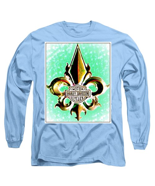 Fleurs De Lys And Harley Davidson Logo Bronze Green Long Sleeve T-Shirt by Danielle  Parent