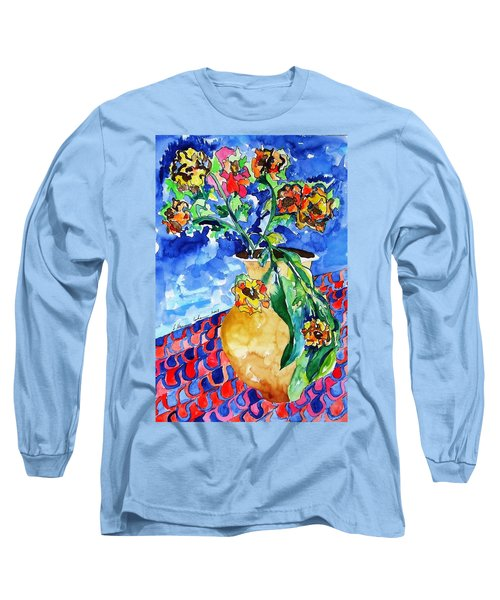 Flip Of Flowers Long Sleeve T-Shirt by Esther Newman-Cohen