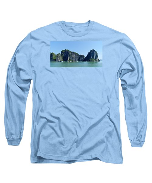 Floating Village Ha Long Bay Long Sleeve T-Shirt by Scott Carruthers