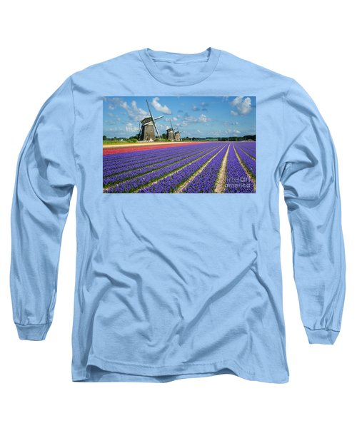 Landscape In Spring With Flowers And Windmills In Holland Long Sleeve T-Shirt