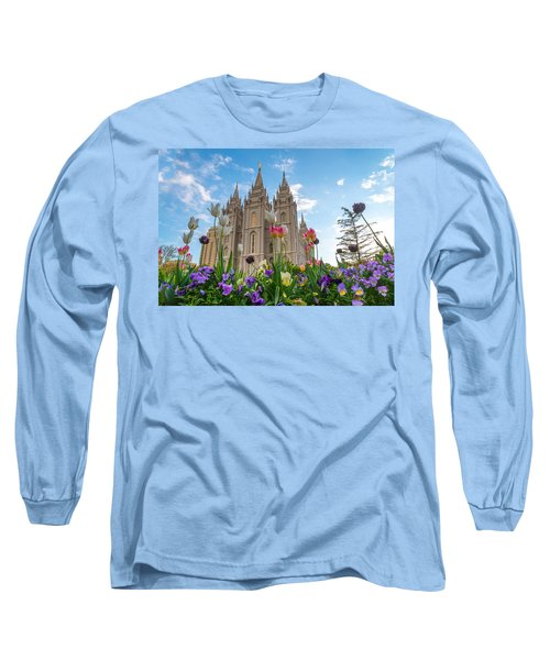 Flowers At Temple Square Long Sleeve T-Shirt