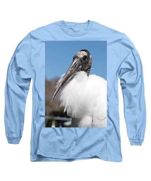 Fluffy Wood Stork Long Sleeve T-Shirt by Carol Groenen