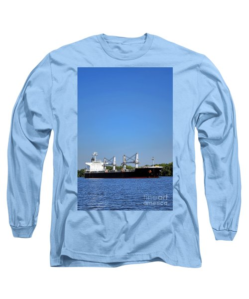 Freighter On River Long Sleeve T-Shirt