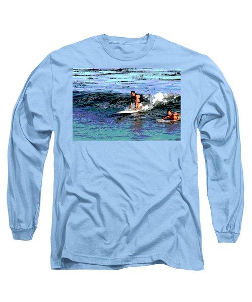 Friends Sharing A Wave Long Sleeve T-Shirt