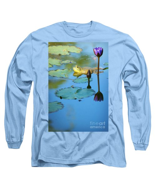Long Sleeve T-Shirt featuring the photograph Frog And Lily by Ellen Cotton