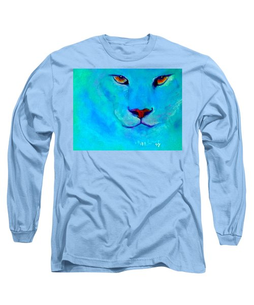 Funky Snow Leopard Turquoise Long Sleeve T-Shirt