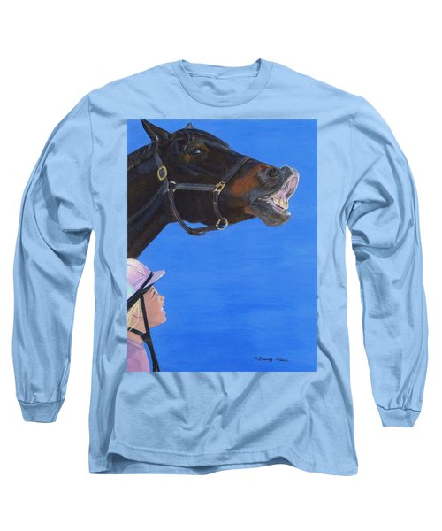 Funny Face - Horse And Child Long Sleeve T-Shirt by Patricia Barmatz