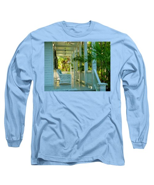 Long Sleeve T-Shirt featuring the painting Gardens Porch In Key West by David  Van Hulst