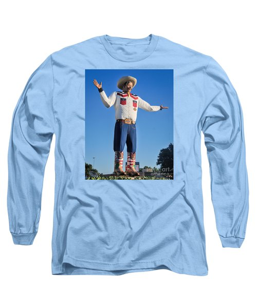 Giant Cowboy Big Tex State Fair Of Texas Long Sleeve T-Shirt by David Perry Lawrence