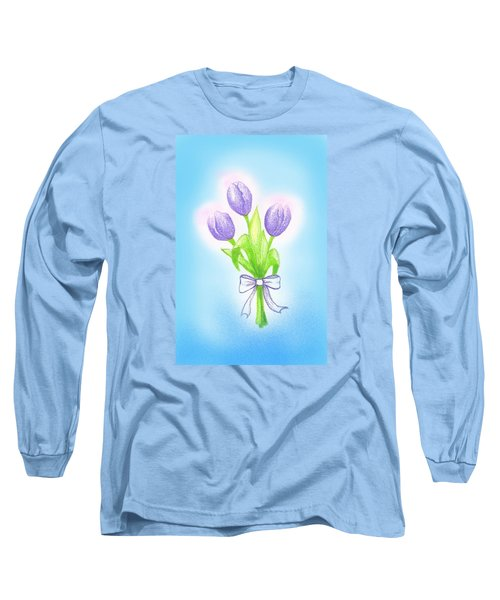 Long Sleeve T-Shirt featuring the drawing Gift by Keiko Katsuta