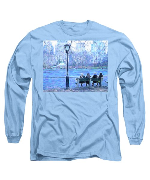 Girls At Pond In Central Park Long Sleeve T-Shirt