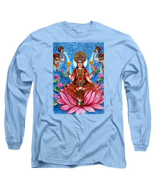 Long Sleeve T-Shirt featuring the painting Goddess Lakshmi by Harsh Malik