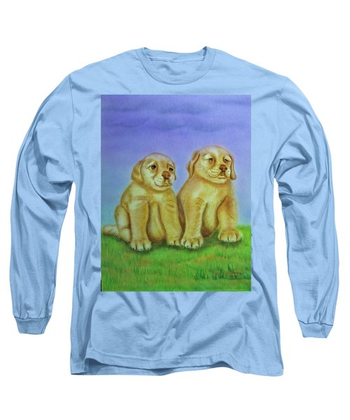 Long Sleeve T-Shirt featuring the painting Golden Retriever by Thomas J Herring