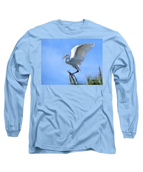 Long Sleeve T-Shirt featuring the photograph Graceful Landing by Deb Halloran