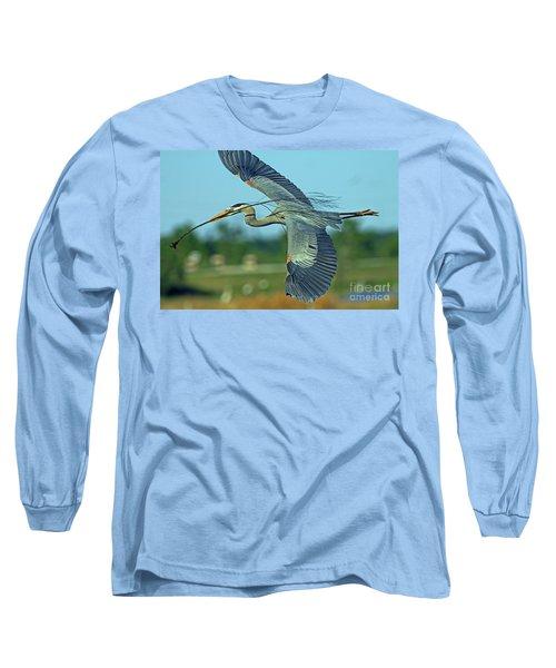 Great Blue Heron Flight 2 Long Sleeve T-Shirt