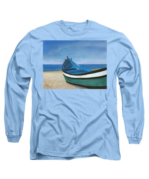 Green Boat Blue Skies Long Sleeve T-Shirt by Arlene Crafton