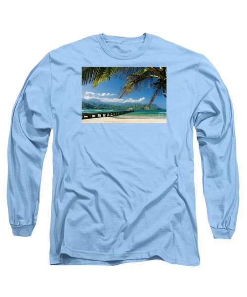 Hanalei Pier And Beach Long Sleeve T-Shirt by M Swiet Productions