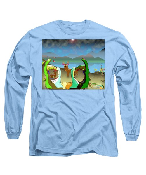 Hands And Deer Long Sleeve T-Shirt