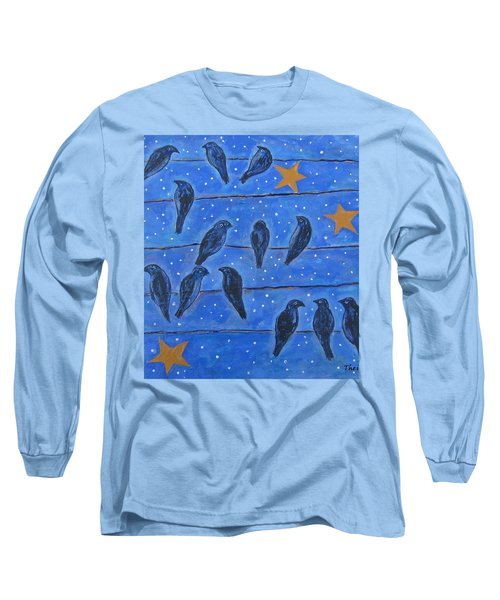 Long Sleeve T-Shirt featuring the painting Hanging Out At Night by Suzanne Theis