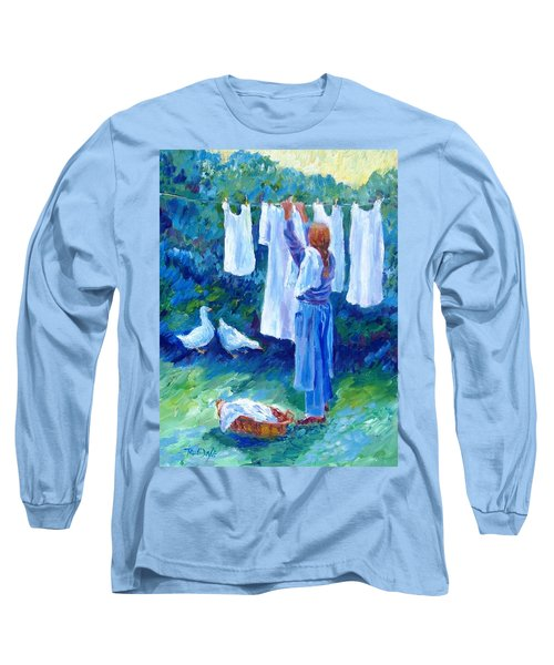 Hanging The Whites  Long Sleeve T-Shirt by Trudi Doyle