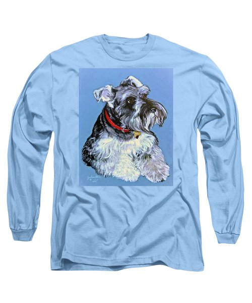 Long Sleeve T-Shirt featuring the painting Hans The Schnauzer Original Painting Forsale by Bob and Nadine Johnston