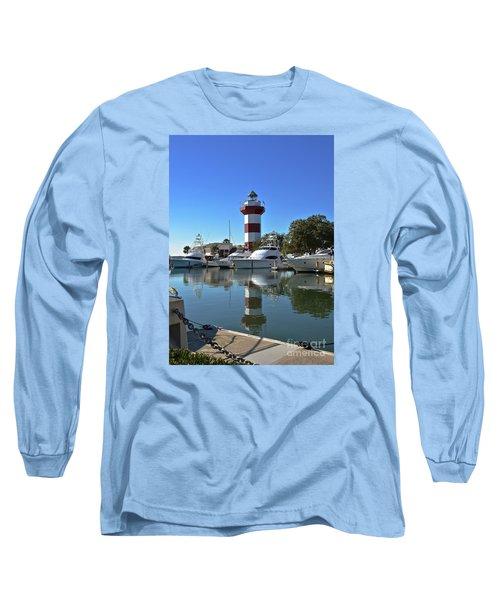 Harbor Town Lighthouse Long Sleeve T-Shirt by Carol  Bradley