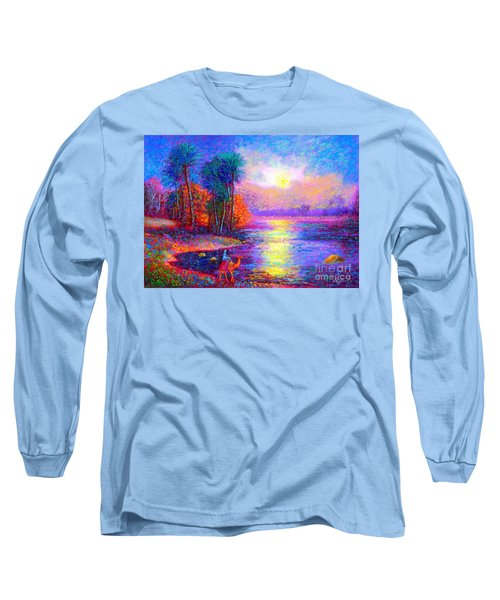 Long Sleeve T-Shirt featuring the painting Haunting Star by Jane Small