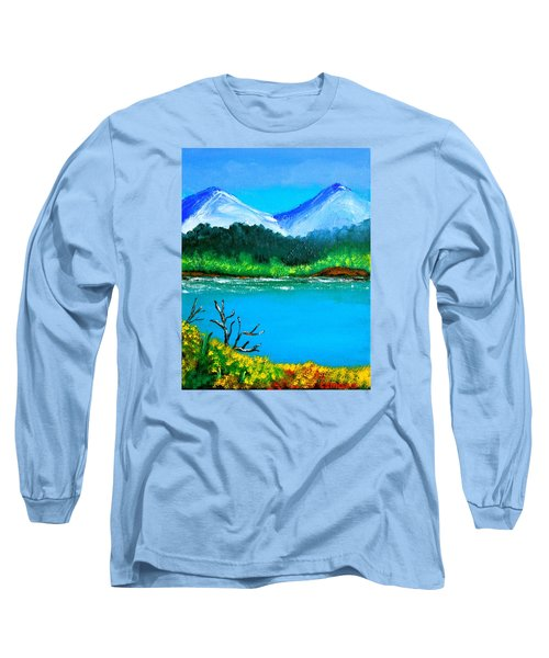 Hills By The Lake Long Sleeve T-Shirt by Cyril Maza
