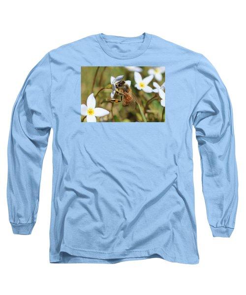 Honeybee On Bluet Long Sleeve T-Shirt by Lucinda VanVleck