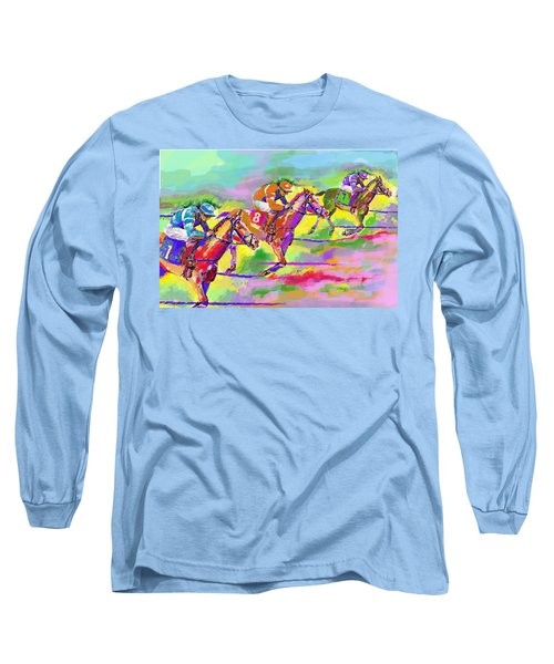 Long Sleeve T-Shirt featuring the digital art Horse Race  Three by Mary Armstrong
