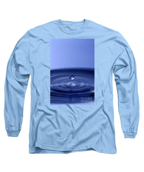 Hovering Blue Water Drop Long Sleeve T-Shirt by Anthony Sacco