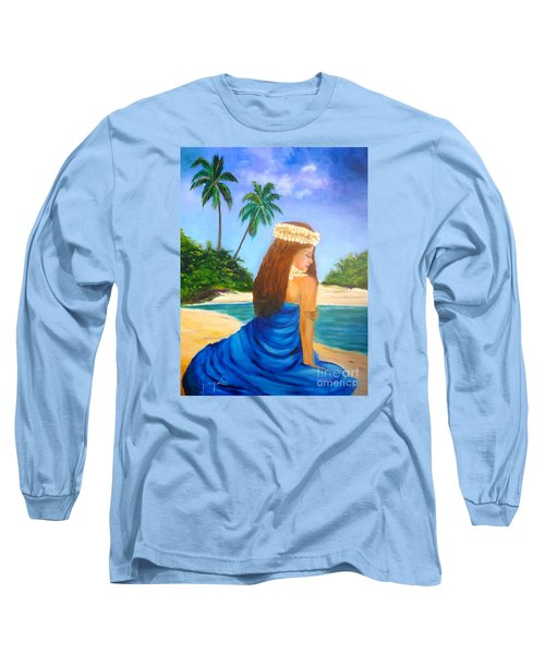 Long Sleeve T-Shirt featuring the painting Hula Girl On The Beach by Jenny Lee