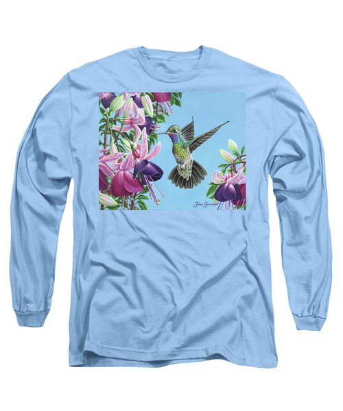 Hummingbird And Fuchsias Long Sleeve T-Shirt by Jane Girardot