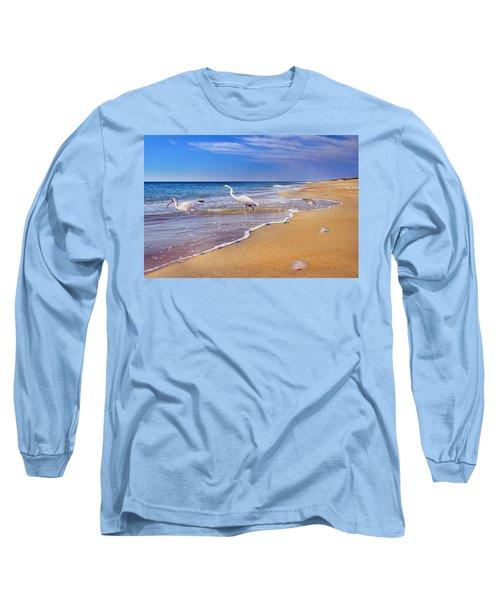 Inspiring Ibis Egret Sandpiper Starfish Sand Dollars  Long Sleeve T-Shirt