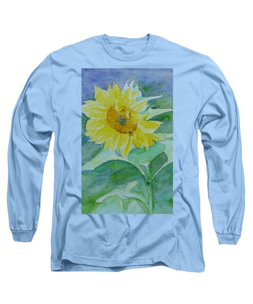 Inviting Sunflower Small Sunflower Art Long Sleeve T-Shirt by Elizabeth Sawyer