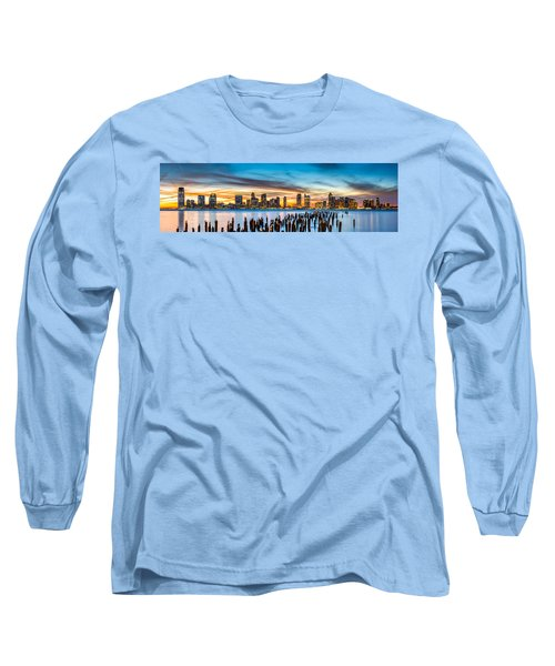Jersey City Panorama At Sunset Long Sleeve T-Shirt