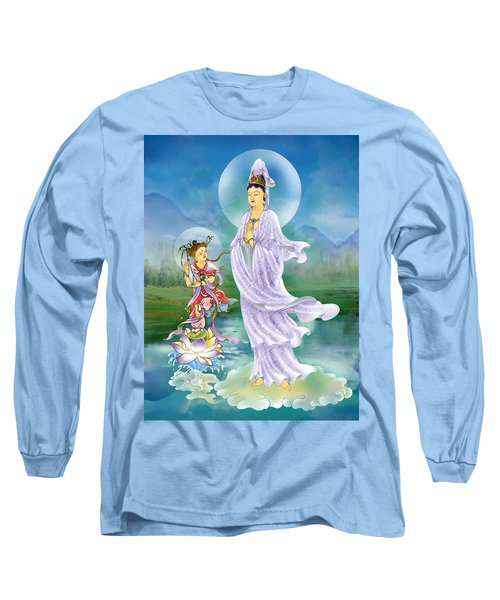 Long Sleeve T-Shirt featuring the photograph Joining Palms Kuan Yin by Lanjee Chee