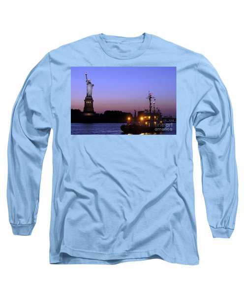 Long Sleeve T-Shirt featuring the photograph Lady Liberty At Dusk by Lilliana Mendez