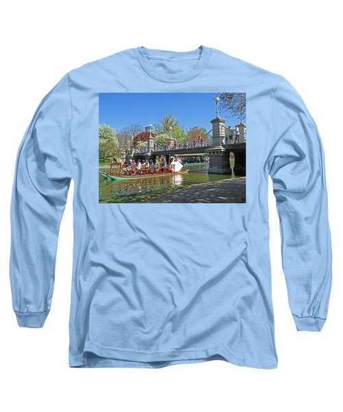 Long Sleeve T-Shirt featuring the photograph Lagoon Bridge And Swan Boat by Barbara McDevitt