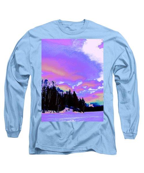 Winter  Snow Sky  Long Sleeve T-Shirt by Expressionistart studio Priscilla Batzell