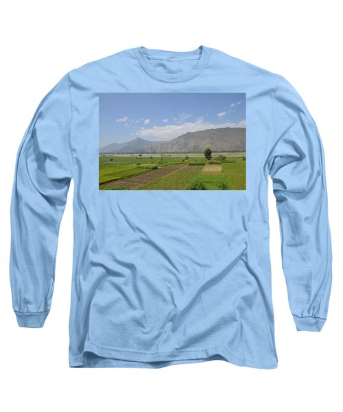 Long Sleeve T-Shirt featuring the photograph Landscape Of Mountains Sky And Fields Swat Valley Pakistan by Imran Ahmed