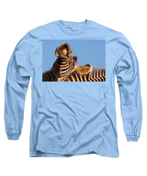 Laughing Zebra Long Sleeve T-Shirt by Nick  Biemans