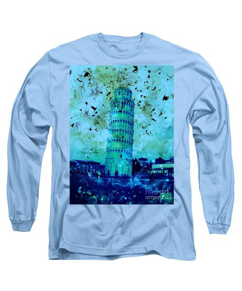 Leaning Tower Of Pisa 3 Blue Long Sleeve T-Shirt