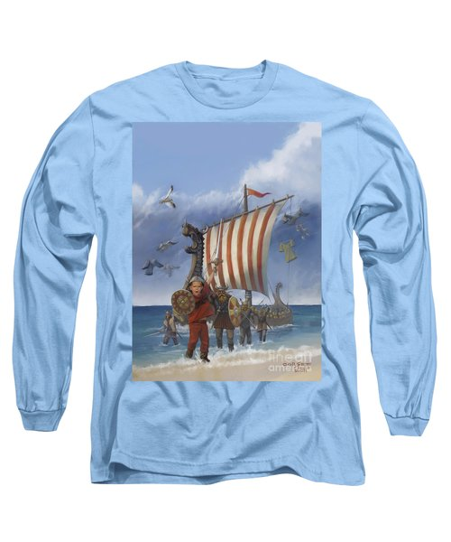 Long Sleeve T-Shirt featuring the painting Legendary Viking by Rob Corsetti