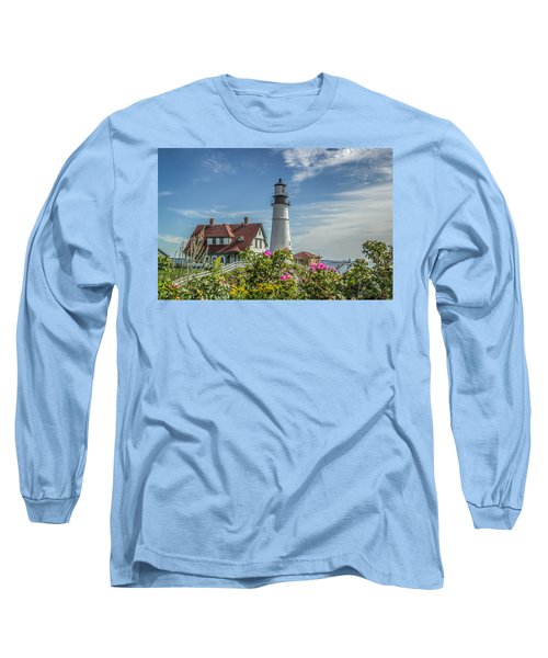 Lighthouse And Wild Roses Long Sleeve T-Shirt